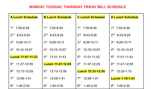 Monday, Tuesday, Thursday Bell Schedule